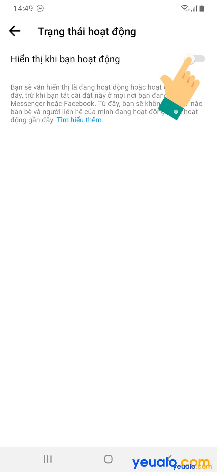 Cách tắt đèn Facebook Messenger trên điện thoại 3