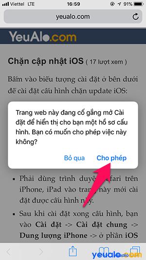 Chặn thông báo cập nhật iOS 3