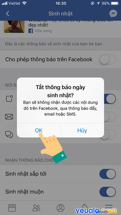 Cách Tắt/ Bật thông báo sinh nhận bạn bè Facebook trên điện thoại 5