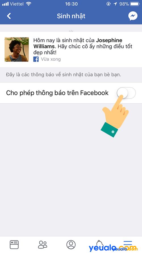 Cách Tắt/ Bật thông báo sinh nhận bạn bè Facebook trên điện thoại 6