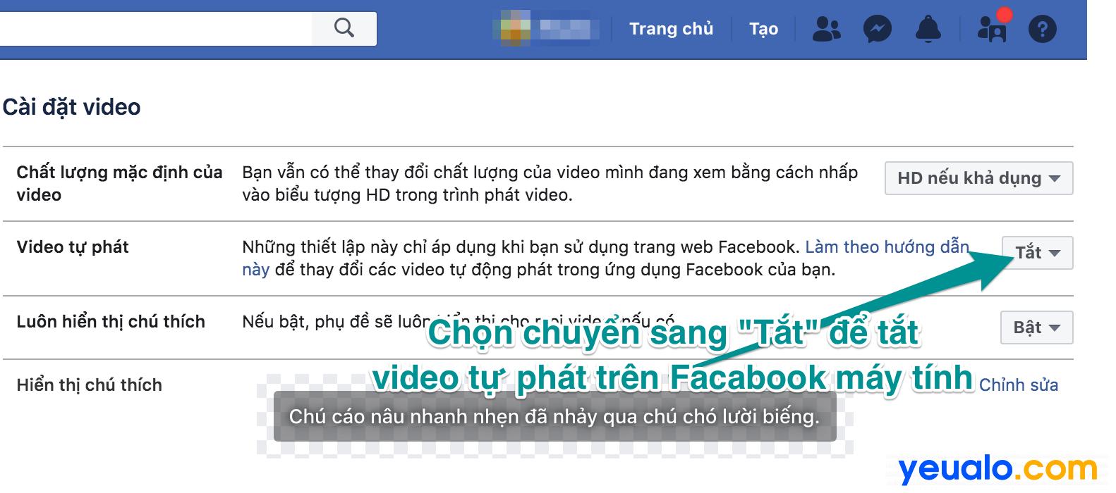 Cách tắt tự phát video trên Facebook trên máy tính