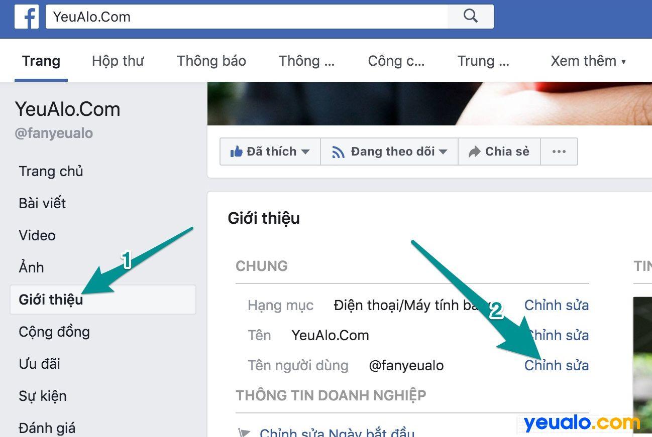 Cách thay đổi đường link url cho Fanpage Facebook