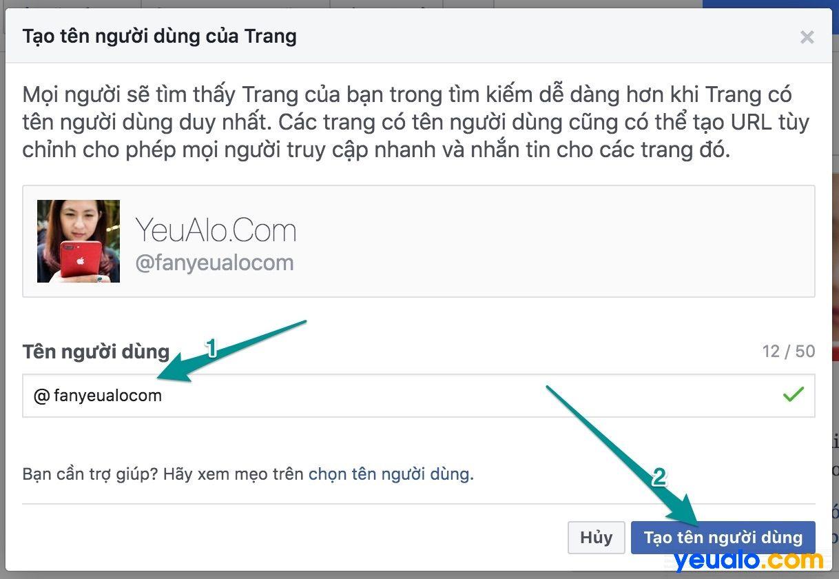 Cách thay đổi đường link url cho Fanpage Facebook 2