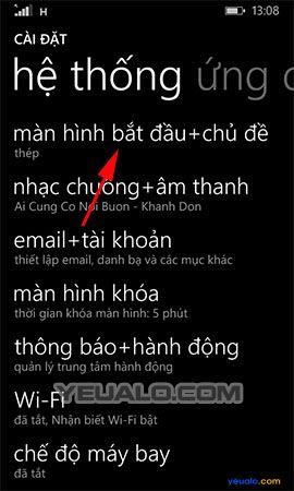 Cách thay đổi hình nền màn hình bắt đầu cho điện thoại Lumia 2