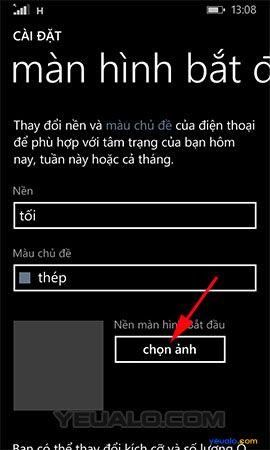 Cách thay đổi hình nền màn hình bắt đầu cho điện thoại Lumia 3