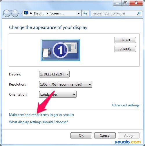 Cách chỉnh cỡ chữ màn hình máy tính trên Windows 7 2