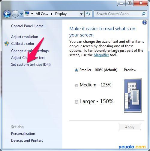 Cách chỉnh cỡ chữ màn hình máy tính trên Windows 7 6