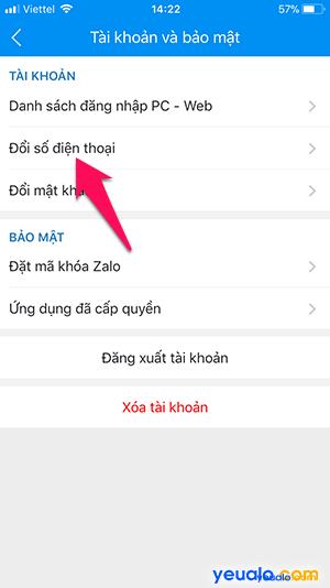 Cách thay đổi số điện thoại Zalo 3