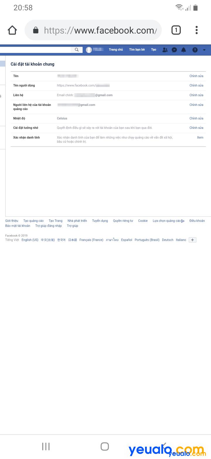 Cách thay đổi tên đăng nhập, id Facebook bằng điện thoại