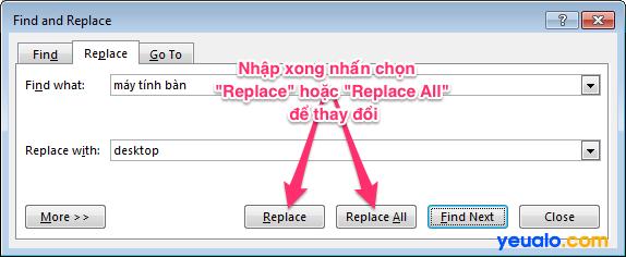 Cách thay thế cụm từ hàng loạt trong Word 2