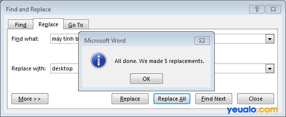 Cách thay thế từ, cụm từ hàng loạt trong Word 3