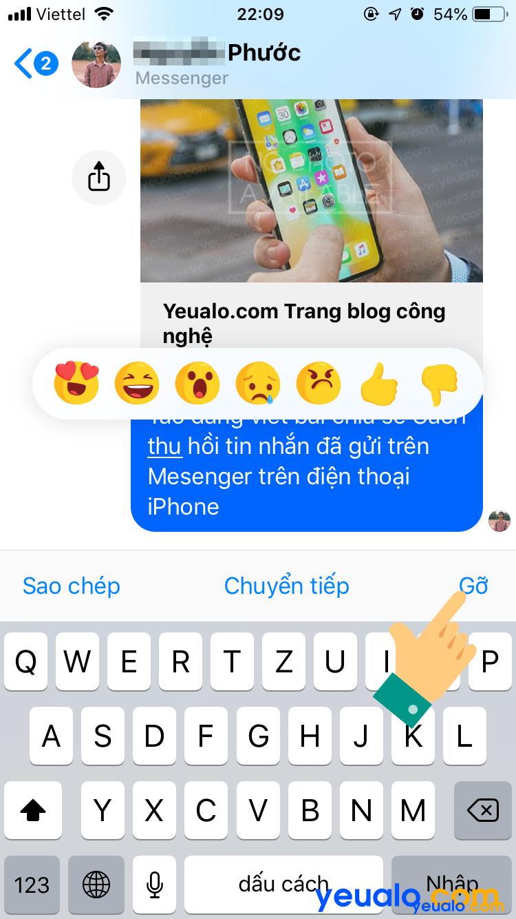 Cách thu hồi tin nhắn Messenger đã gửi trên iPhone 2