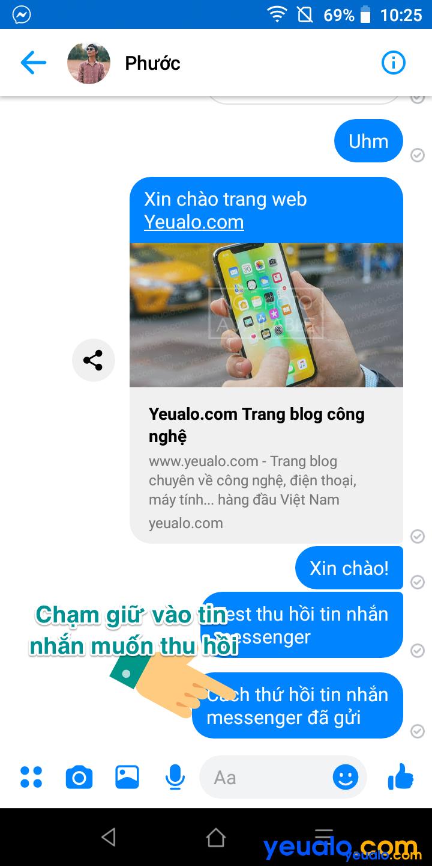 Cách thu hồi tin nhắn đã gửi trên Messenger