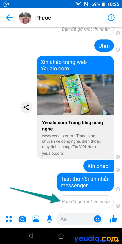 Cách thu hồi tin nhắn đã gửi trên Messenger 5