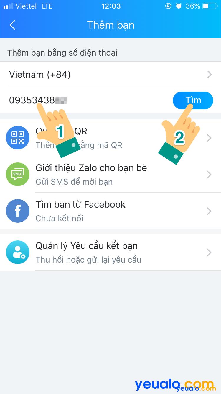 Cách tìm bạn bè Zalo bằng số điện thoại 2