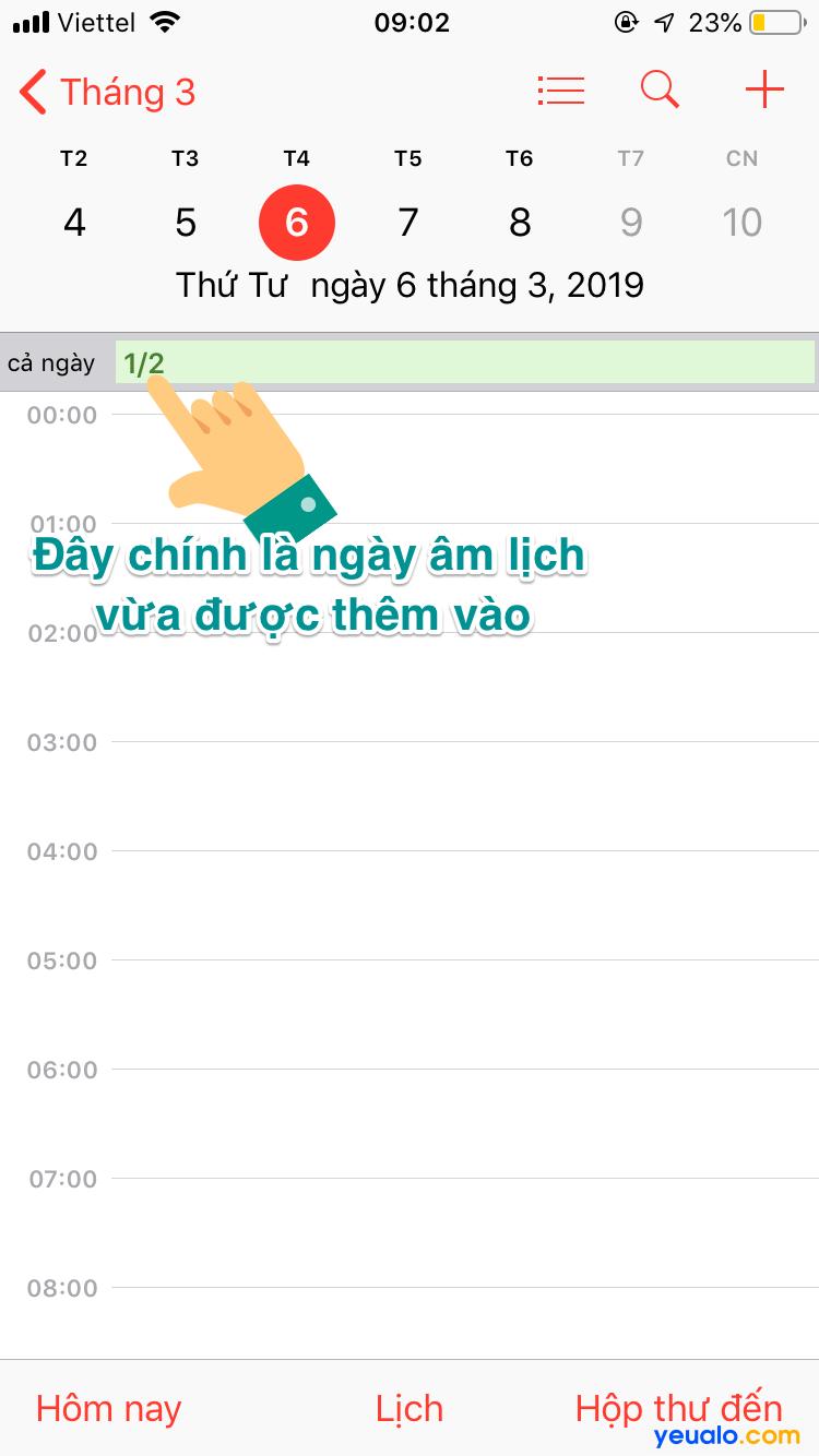 Cách xem lịch âm trên iPhone 3