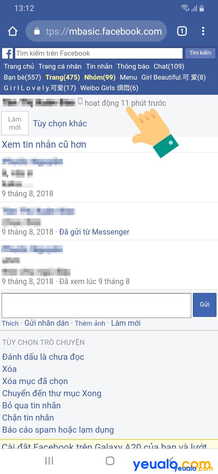 Cách xem người khác có online Facebook hay không