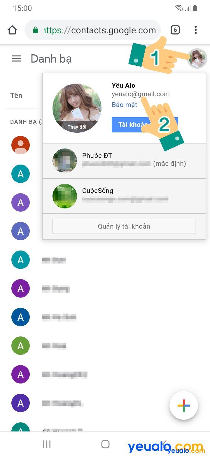 Cách xóa danh bạ đồng bộ trên Gmail 2