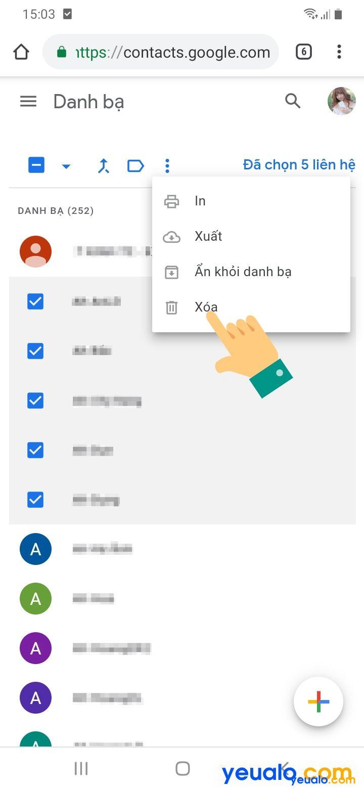 Cách xóa danh bạ đồng bộ trên Gmail 4