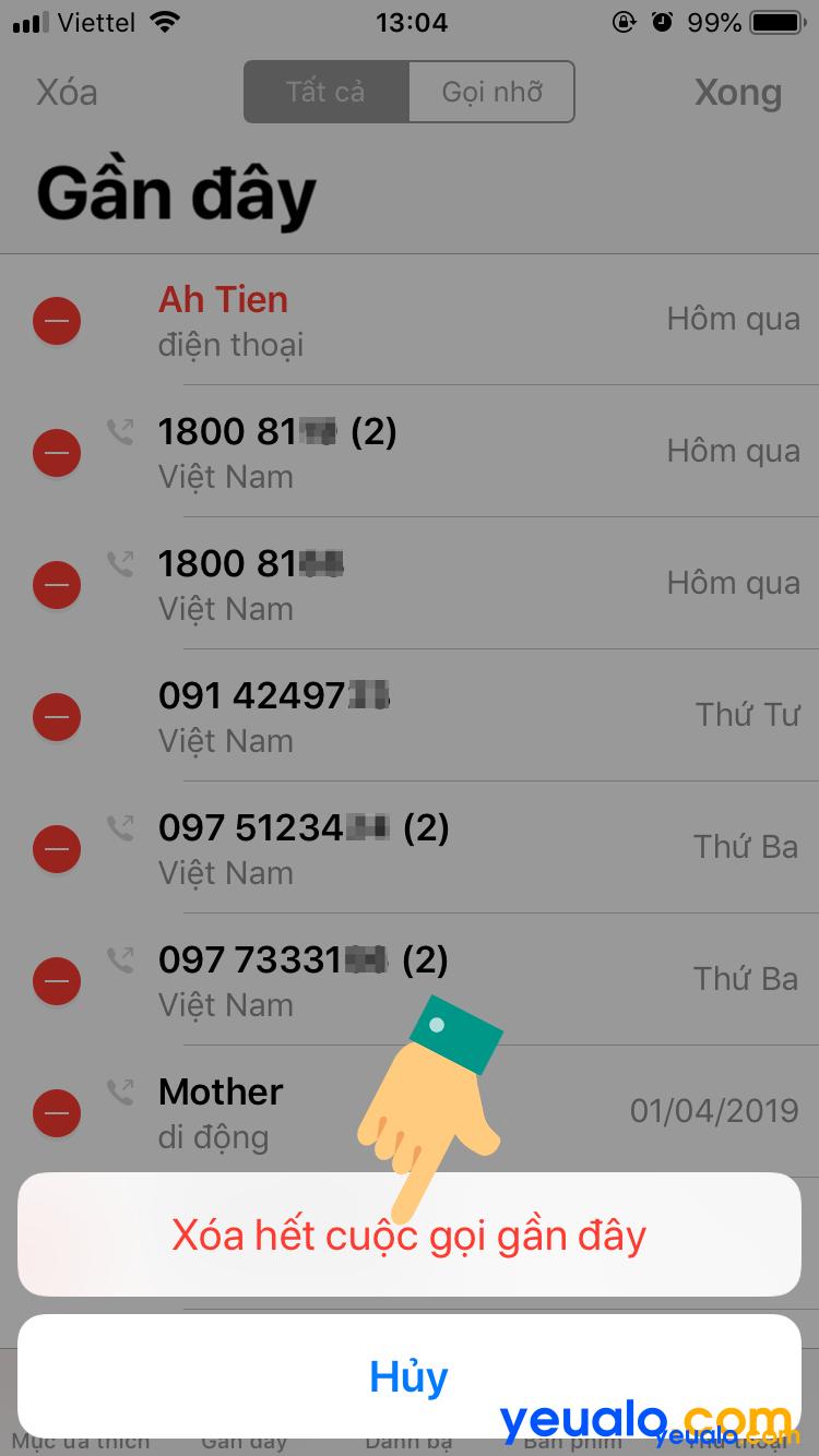 Cách xóa lịch sử cuộc gọi trên iPhone 6