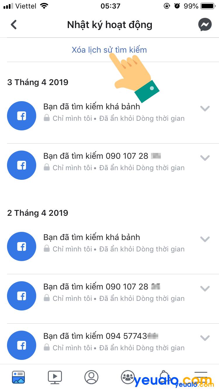 Cách xoá lịch sử tìm kiếm Facebook trên điện thoại 5
