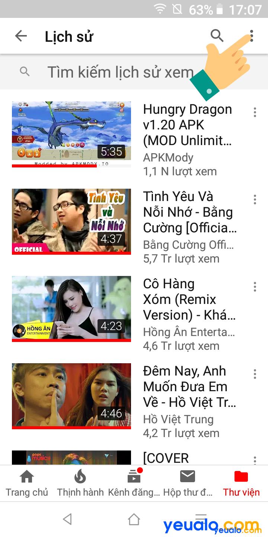 Cách xóa lịch sử tìm kiếm Youtube trên điện thoại 3