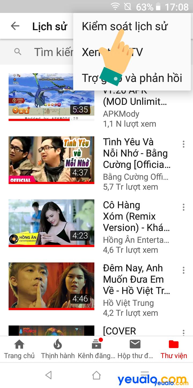Cách xóa lịch sử tìm kiếm Youtube trên điện thoại 4