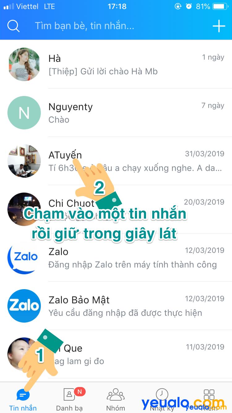 Cách xóa nhiều tin nhắn Zalo cùng lúc trên iPhone 2