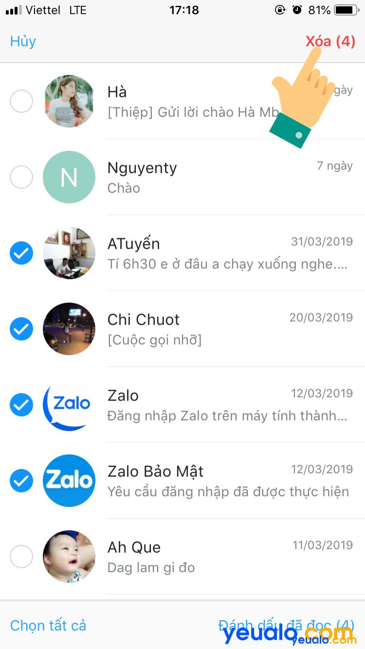 Cách xóa nhiều tin nhắn Zalo cùng lúc trên iPhone 3