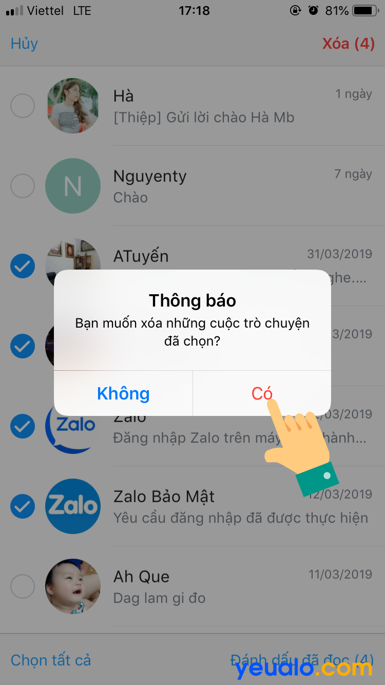 Cách xóa nhiều tin nhắn Zalo cùng lúc trên iPhone 4