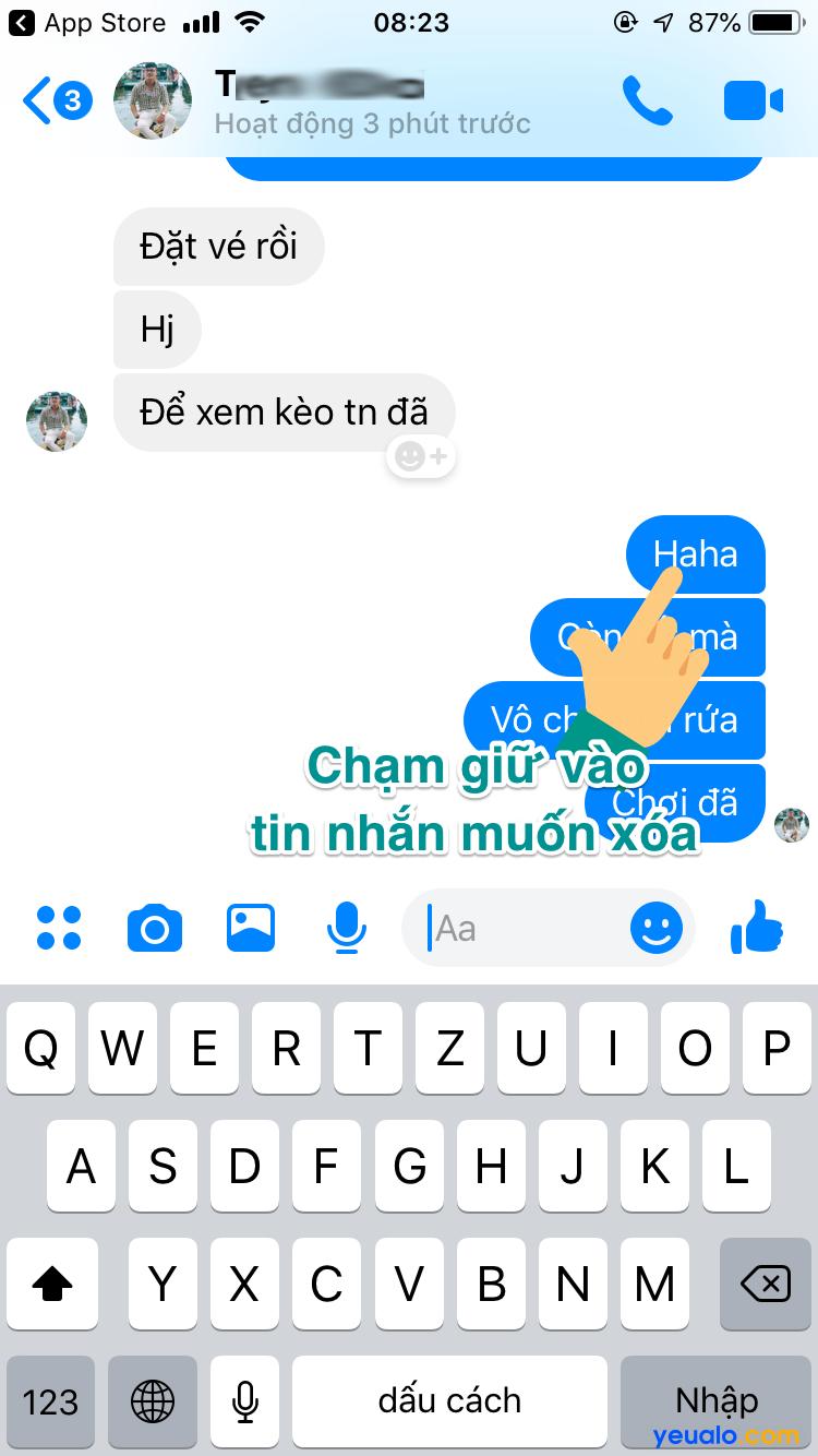 Cách xoá tin nhắn trên Messenger