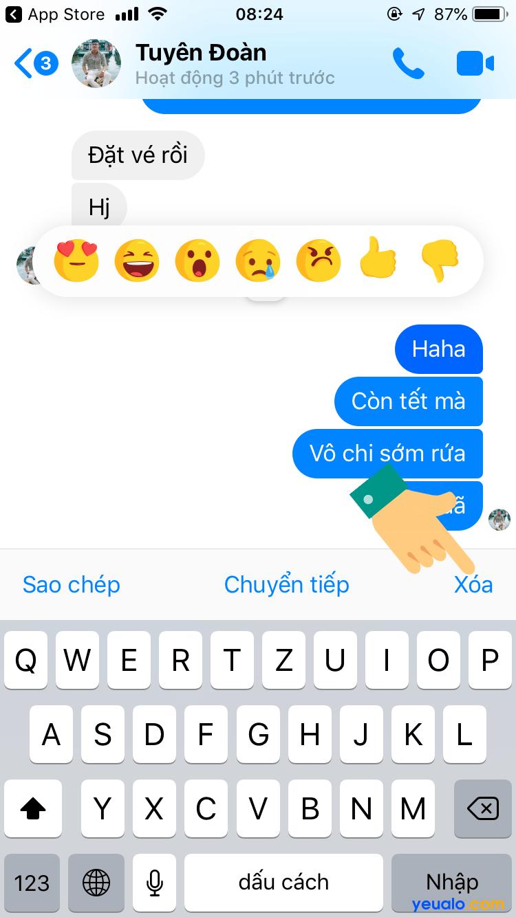 Cách xoá tin nhắn trên Messenger 2