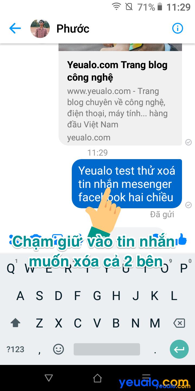 Cách xóa tin nhắn Messenger cả hai bên