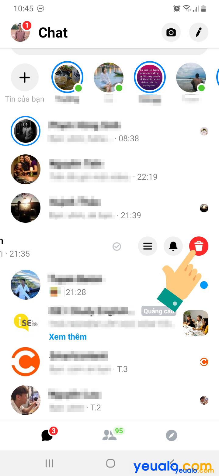 Cách xóa toàn bộ tin nhắn trên Messenger trên điện thoại