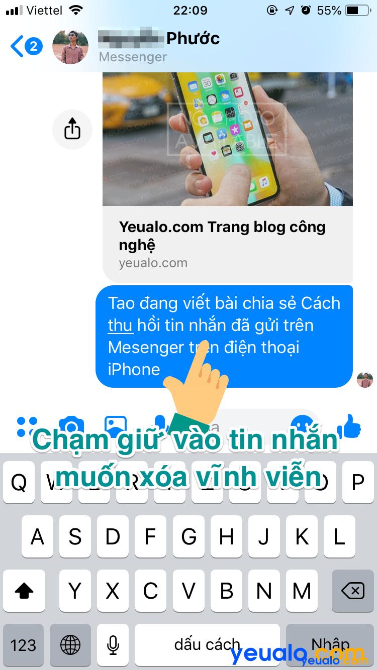 Cách xoá tin nhắn Messenger vĩnh viễn trên iPhone