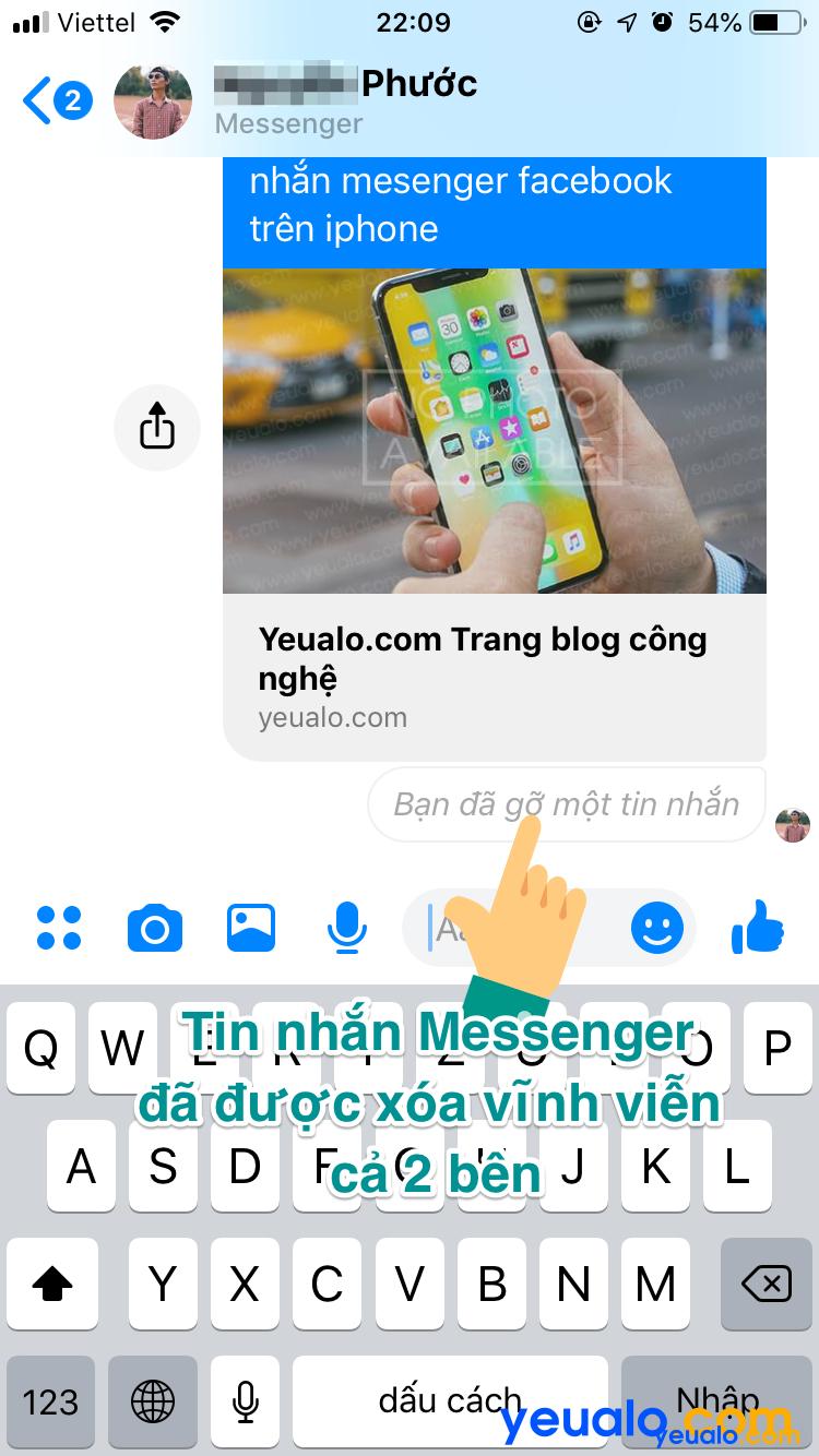 Cách xoá tin nhắn Messenger vĩnh viễn trên iPhone 5
