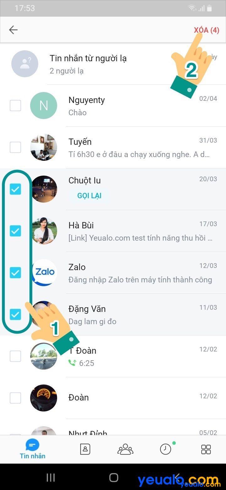 Cách xóa tin nhắn Zalo nhiều người cùng lúc 4