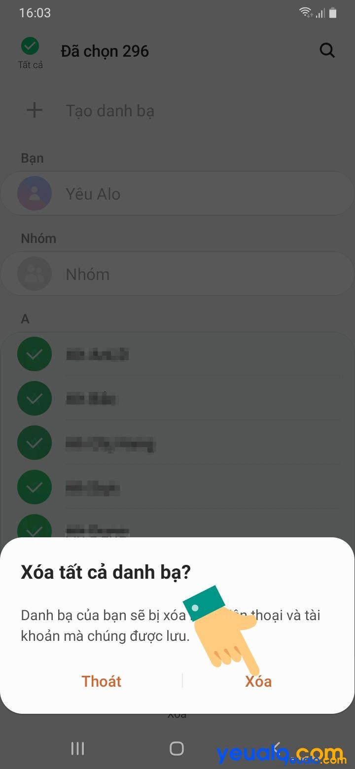 Cách xóa toàn bộ danh bạ trên Samsung 6