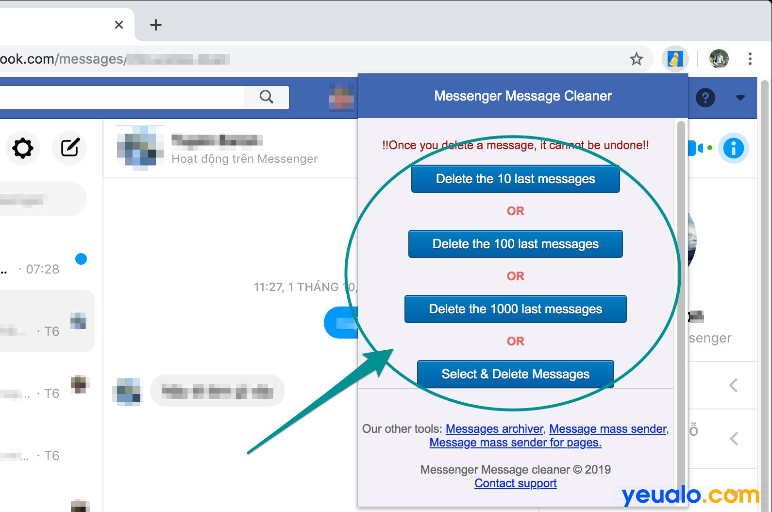 Cách xóa toàn bộ tin nhắn Facebook Messenger 3