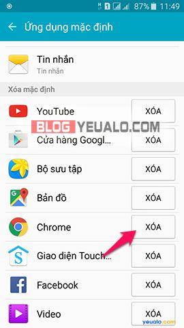 Cách xóa ứng dụng mặc định trên điện thoại Samsung Galaxy 4