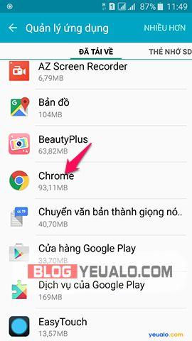 Cách xóa ứng dụng mặc định trên điện thoại Samsung Galaxy 6