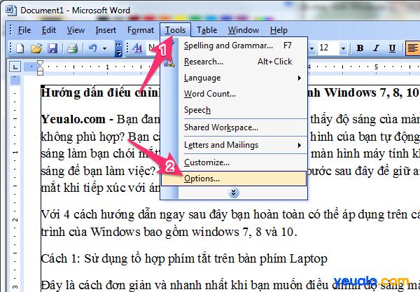 Cách cài đặt chế độ Auto Save trong Word 2003