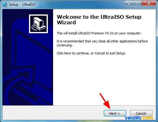 Cài đặt phần mềm UltraISO để tạo Hiren Boot lên usb 1