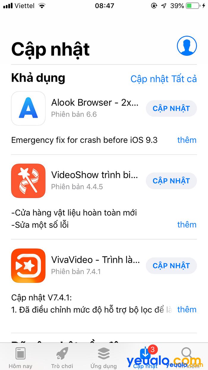 Cách cập nhật ứng dụng iPhone thủ công