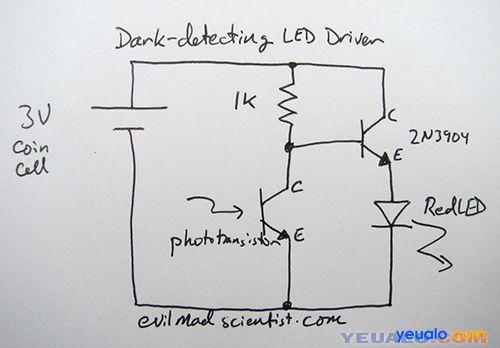 Chế đèn ngủ cảm biến ảnh sáng đơn giản 2