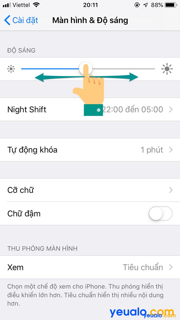 Điều chỉnh độ sáng màn hình iPhone 6 3
