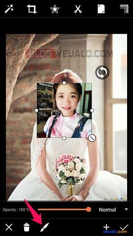 Hướng dẫn cách ghép ảnh cô dâu trên điện thoại 4