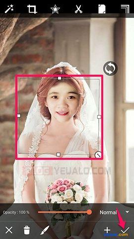 Hướng dẫn cách ghép ảnh cô dâu trên điện thoại 6