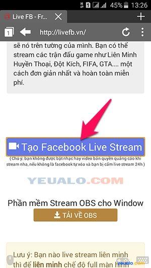 Hướng dẫn cách live stream màn hình điện thoại lên Facebook 1