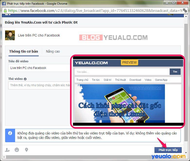 Hướng dẫn cách phát Facebook Live trực tiếp từ máy tính 14